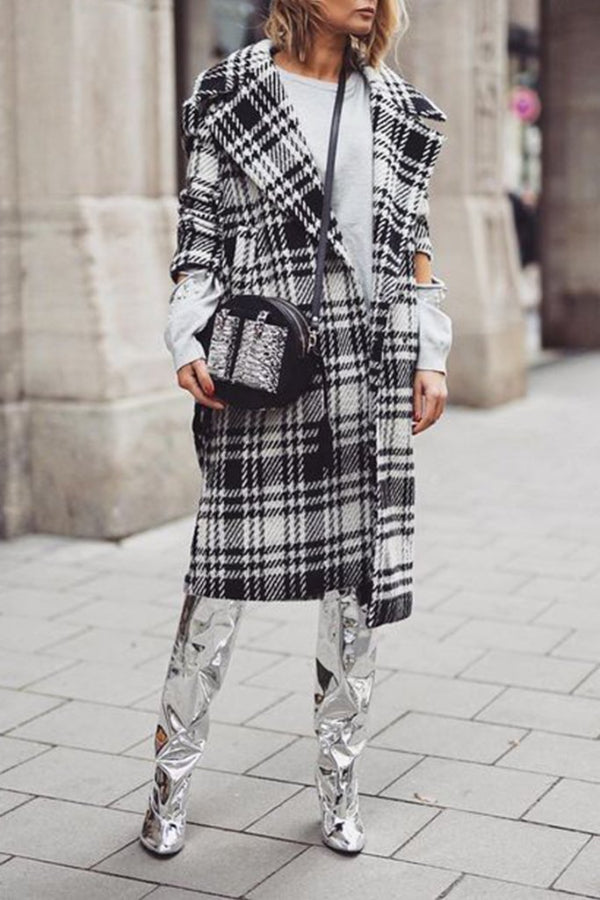 Lapel Long Sleeves Plaid Print Casual Coat