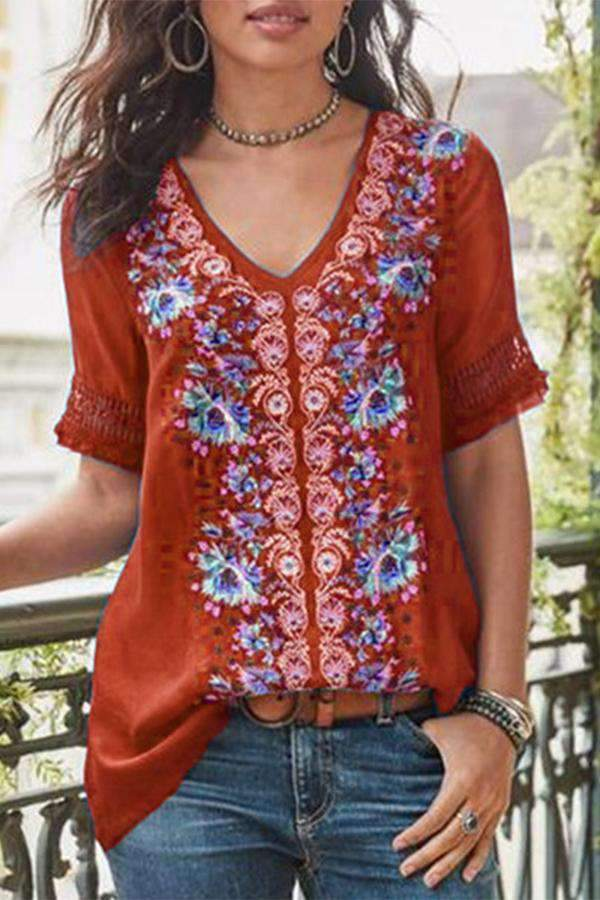 Casual Embroidery Linen Top - Regocy