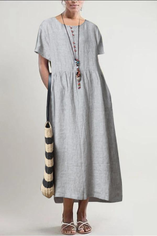 Buttoned Side Pockets Linen Midi Dress - Regocy
