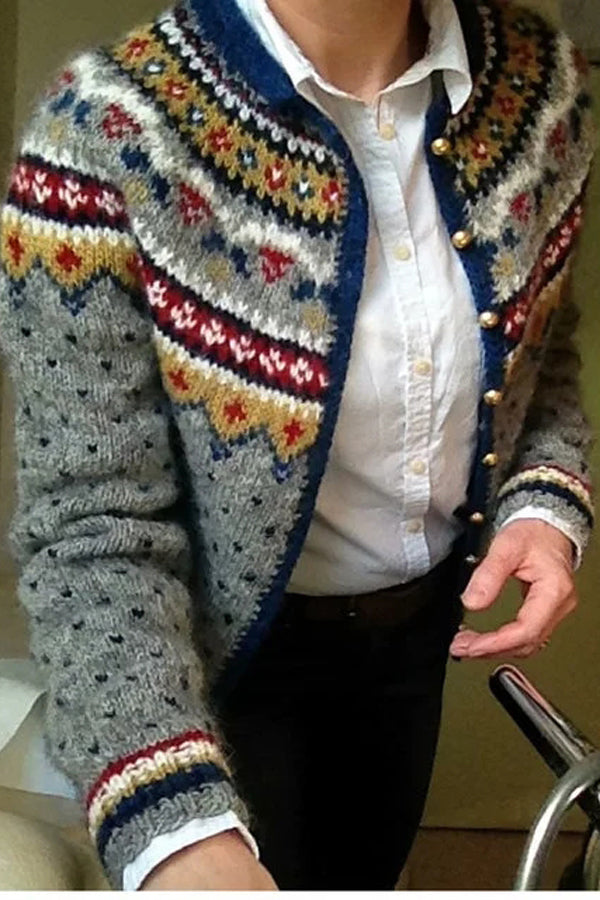 Vintage Print Button Down Knitted Coat