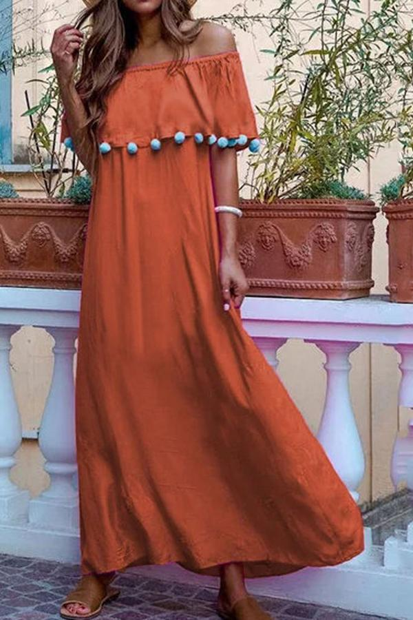 Boho Off Shoulder Overlay Pom Pom Maxi Dress - Regocy