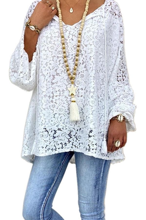 Solid Hollow Casual V Neck Blouse