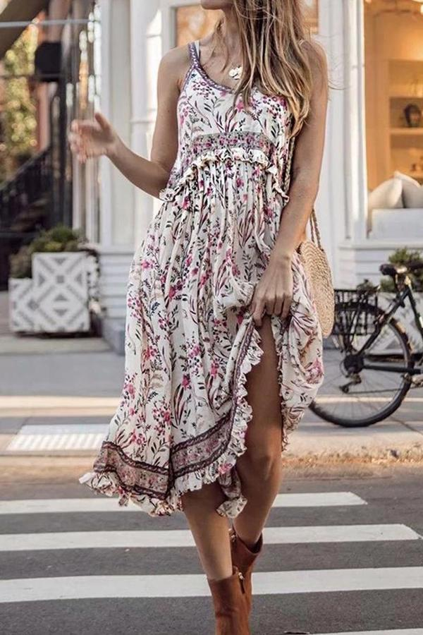 Boho Print Holiday Ruffle Spaghetti Midi Dress - Regocy