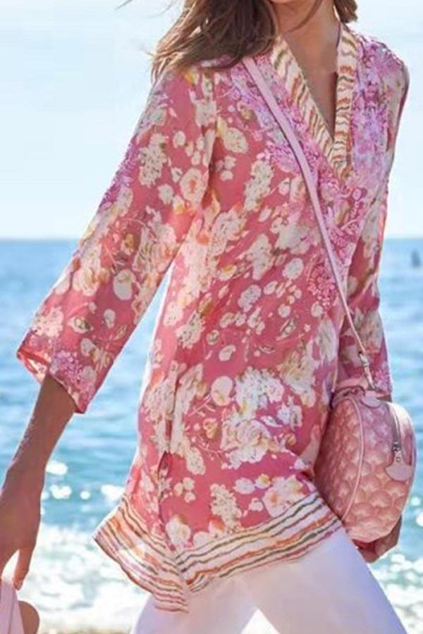 Bohemian Floral Print Paneled V-neck 3/4 Sleeves Blouse