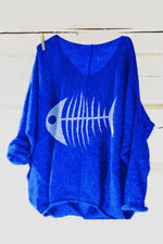 V Neck Long Sleeves Knitted Fishbone Printed T-Shirts