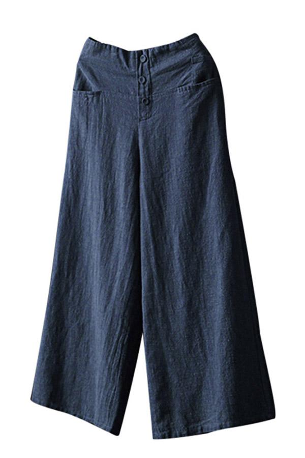 Linen Loose Casual Pocket High Waist Pants - Regocy
