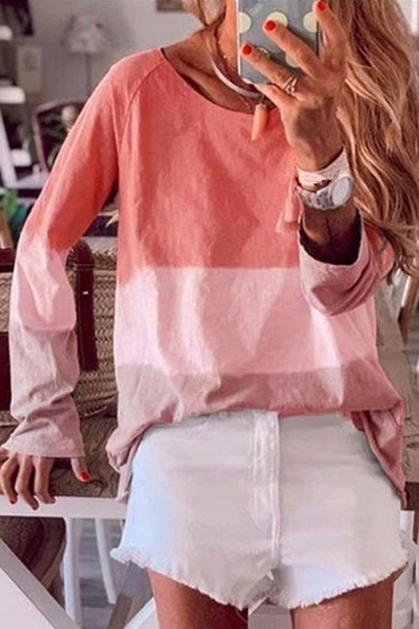 Gradient Color Block Long Sleeves T Shirt - Regocy