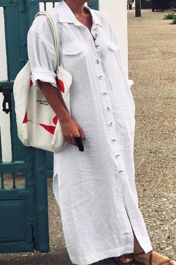Causal Button Down Pockets Linen Dress - Regocy