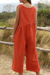 Solid Paneled Pleated Plunging Neck Pockets Wide Leg Jumpsuit