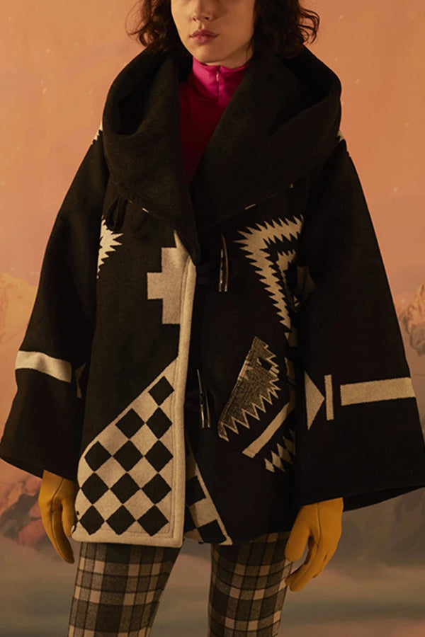 Geometric Outerwear Paneled Jacquard Vintage Horn Buckles Hooded Coat