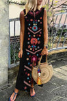Holiday Floral Print Sleeveless Slit Maxi Dress - Regocy