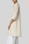 Half Sleeves Casual Solid Linen Midi Dress