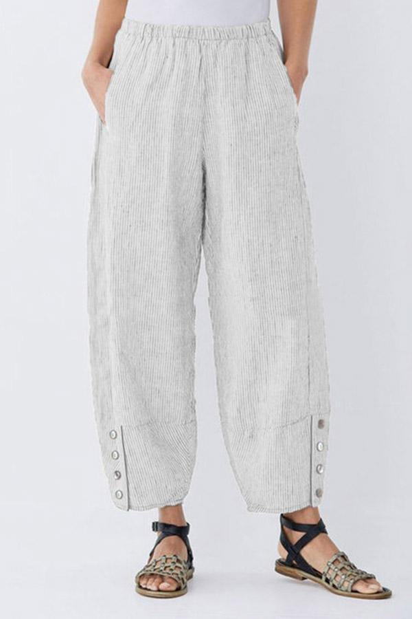 Striped Buttoned Casual Linen Pockets Pants - Regocy