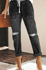 Denim Ripped Hole Elastic Straight Jeans Pants - Regocy