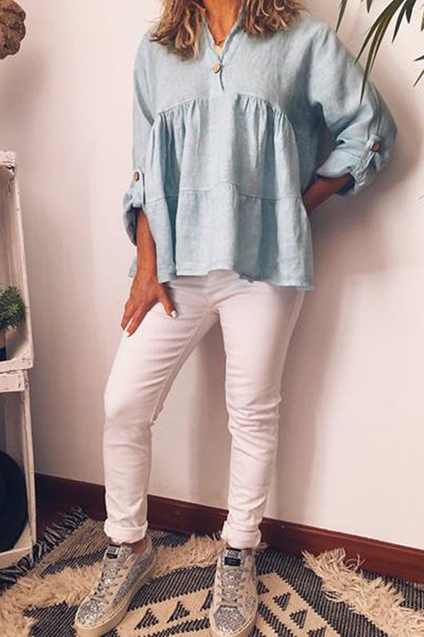 Solid V-neck Button Ruffle Blouse