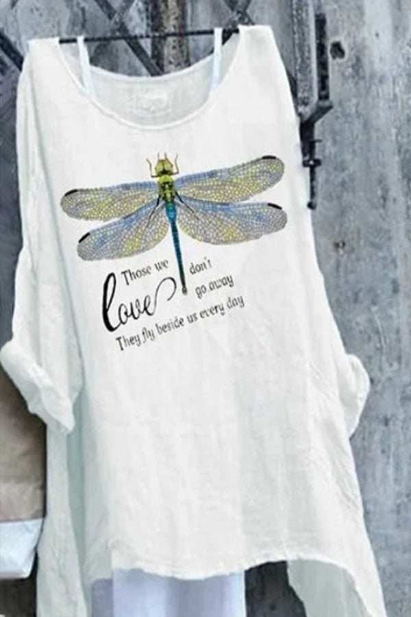 Gradient Yellow Lifelike Dragonfly Print Folds Casual Blouse