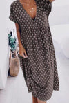 Geometric Paneled Print V-neck Casual Midi Dress