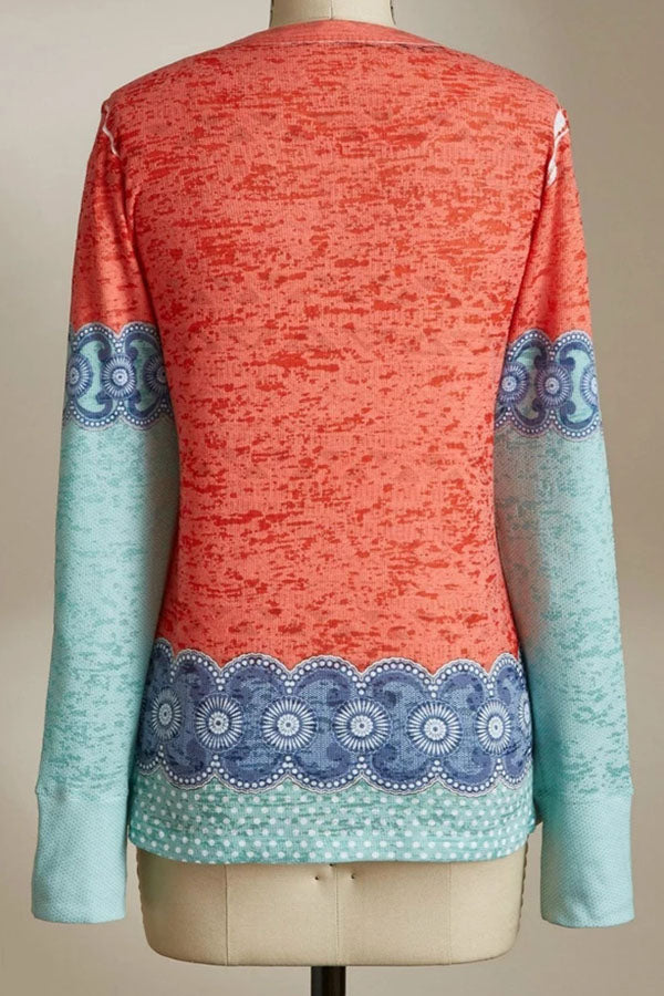 Casual Print Round Long Sleeves T Shirt