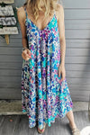 Casual Floral Sling Midi Dress