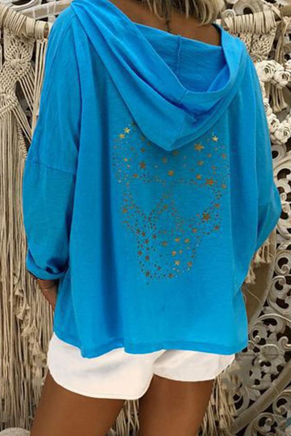 Star Print Long Sleeves Loose Hoodie - Regocy