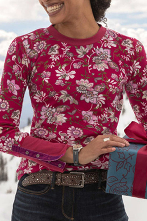 Vintage Floral Print Buttoned Paneled Long Sleeves T-shirt