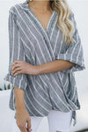 Linen Cross Front Irregular Stripe Blouse - Regocy