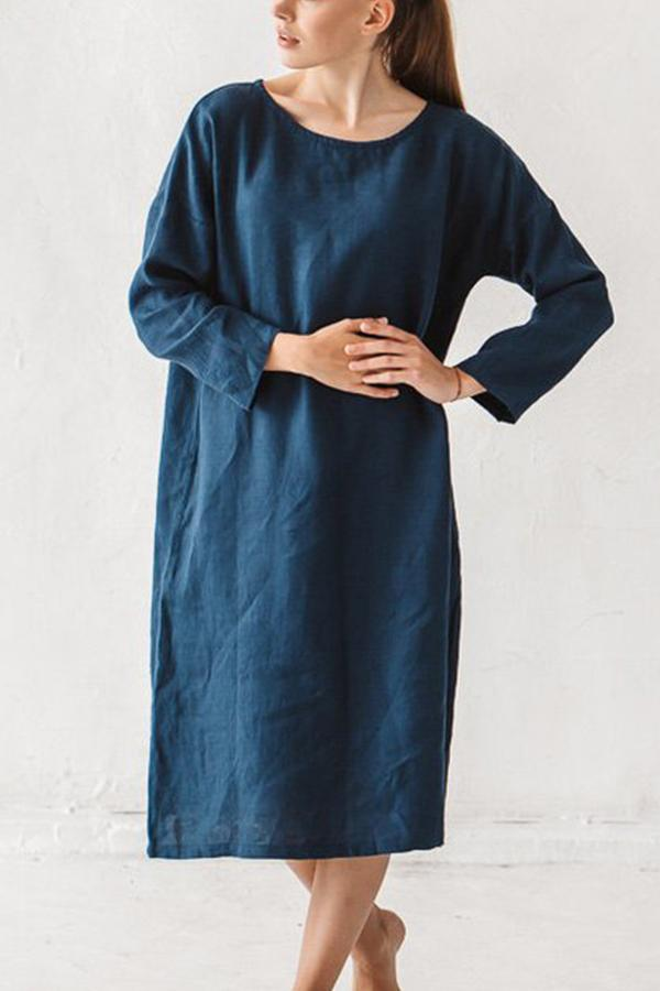 Crew Neck Long Sleeves Casual Linen Dress - Regocy