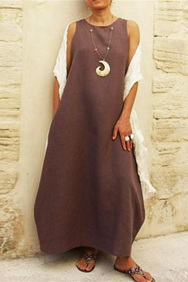 Round Neck Sleeveless Plain Linen Maxi Dress - Regocy