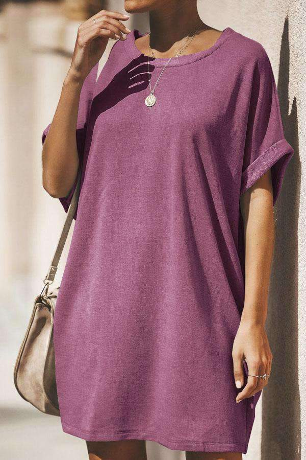 Solid Round Neck Short Sleeves Mini Dress - Regocy