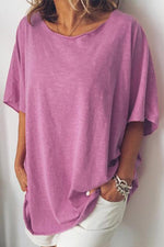 Round Neck Basics Short Sleeves Pure Color T Shirt - Regocy