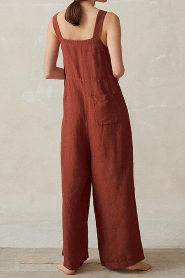 Paneled Solid Side Pocket Sling Casual Wide Leg Jumpsuit