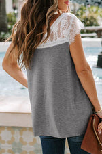 Paneled Floral Lace V-neck Hollow Out Casual T-shirt