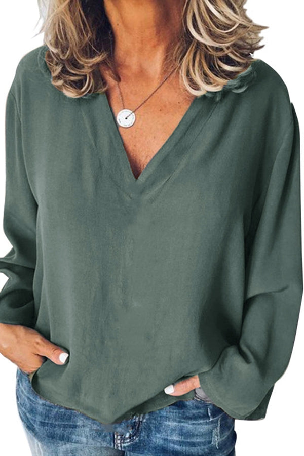 Casual Solid V-neck Long Sleeves Blouse