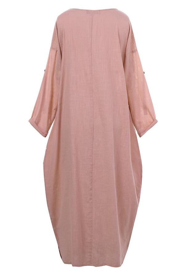 Irregular Button Loose Linen Maxi Dress
