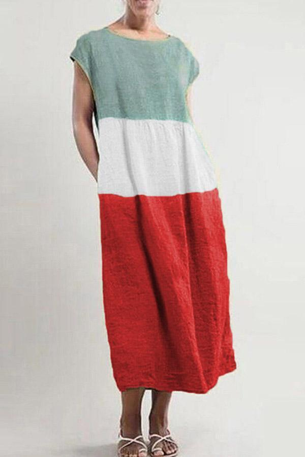 Color-block Linen Casual Pocket Midi Dress - Regocy