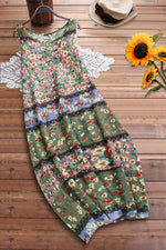 Linen Floral Print Short Sleeves Maxi Dress
