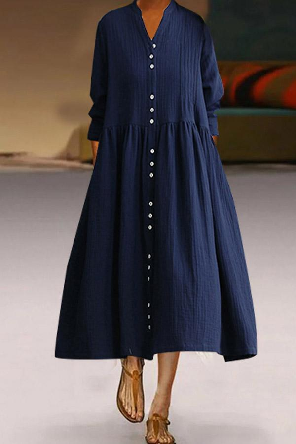 Button Down Long Sleeves Solid Linen Dress - Regocy