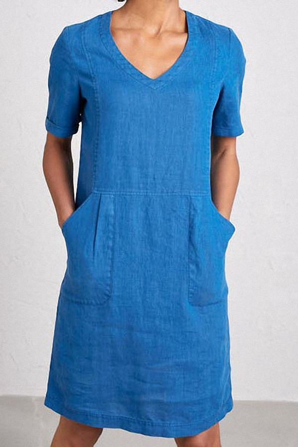 Solid Linen Pockets Short Sleeve Midi Dress - Regocy