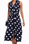 Polka Dots Print Buttoned Sleeveless Midi Dress
