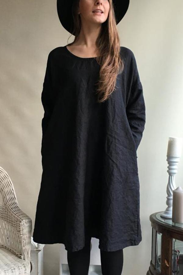 Round Neck Loose Casual Linen Dress - Regocy
