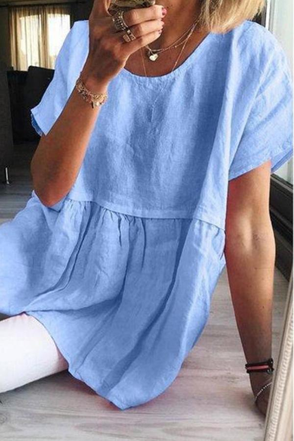 Round Neck Ruffle Casual Linen Blouse - Regocy