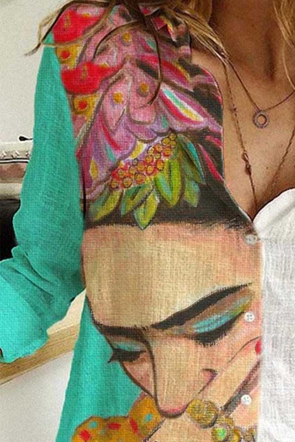Color-block Color Painting Frida Kahlo Print Floral Artistic Blouse