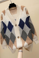 Geometric Print Paneled V-neck Knitted Cardigan