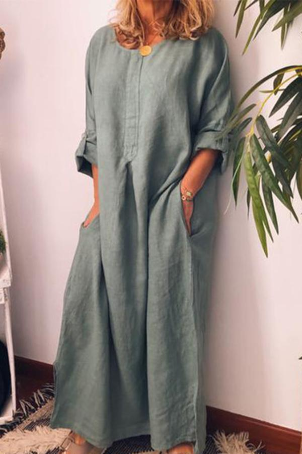 Linen Solid Loose Adjustable Long Sleeves Maxi Dress - Regocy