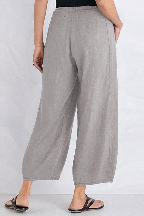 Linen Solid Pockets Casual Pants - Regocy