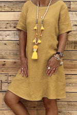 Solid Crew Neck Short Sleeve Casual Midi Dress