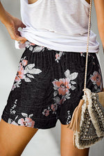 Print Casual Self-tie Pockets Short Pants