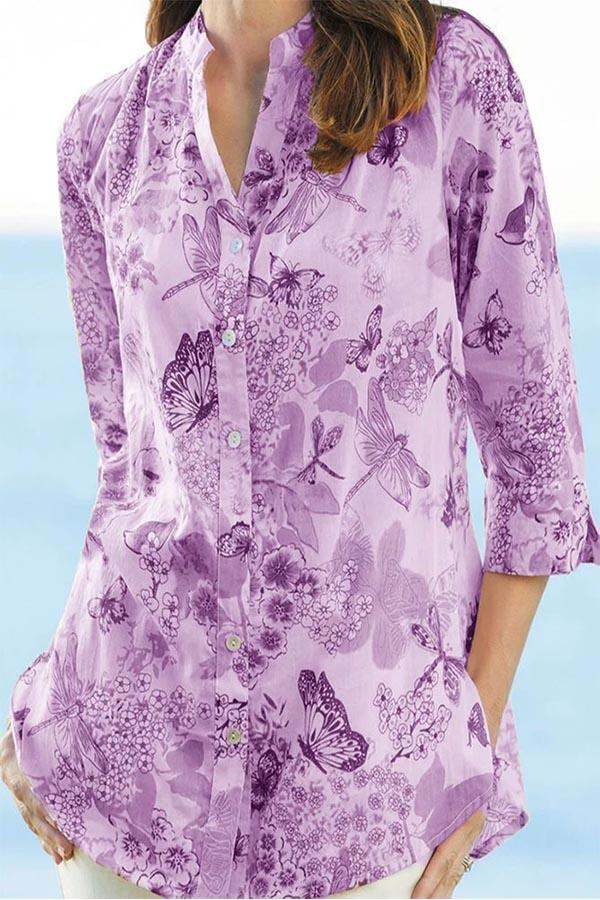 Bohemian Floral Print Buttons Down V-neck Blouse