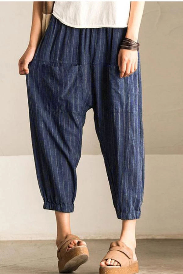 Linen Casual Solid Pocket Striped Pants