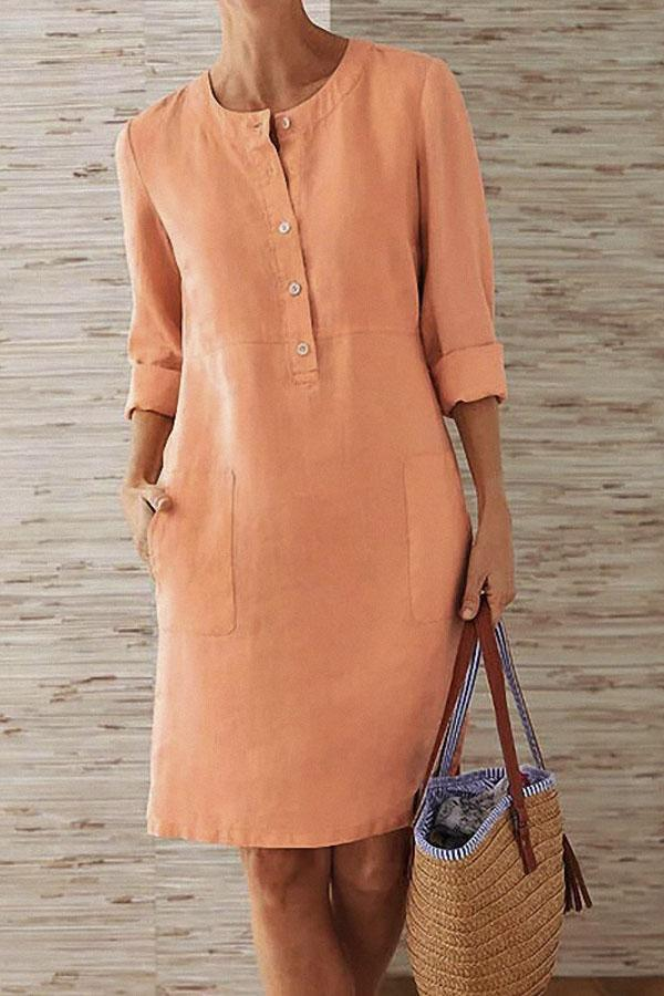 Pockets Front 3/4 Sleeves Linen Midi Dress - Regocy